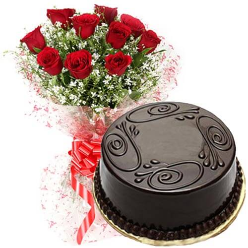 Eggless Chocolate Cake Roses Combo