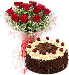 black forest cake and 10 red roses