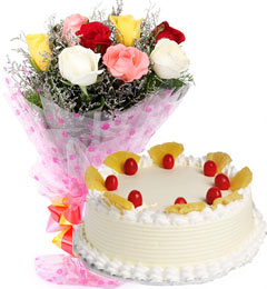 Eggless Pineapple Cake with Roses Bouquet