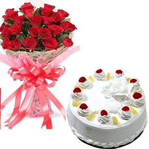 1Kg Pineapple cake with 21 Red Roses