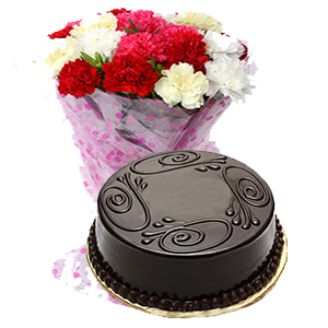 Send buy order mix carnations bunch with 500gms eggless chocolate mix carnations bunch with 500gms eggless chocolate cake greeting card m4hsunfo