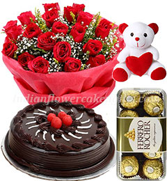 chocolate cake rose bouquet ferrero rochher chocolate and teddy bear