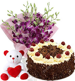 500gm Black Forest Cake 6 Purple Orchid 1 Teddy