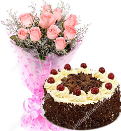 half kg black forest cake ten pink roses bunch