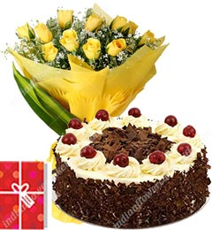 half kg black forest cake and bunch of 10 yellow roses