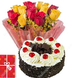 half kg eggless black forest cake and bunch of 10 yellow roses