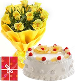 half kg pineapple cake and 10 yellow roses bunch