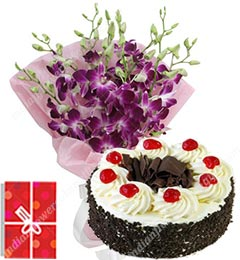orchids bouquet with eggless black forest cake