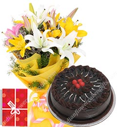 yellow lilies bouquet and eggless chocolate cake 500gms