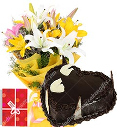 1kg heart shaped chocolate cake and yellow lilies bouquet