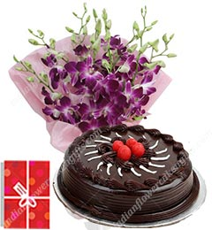 1Kg Chocolate Cake orchid flower bouquet