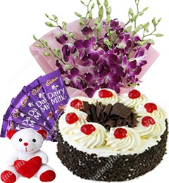 Orchids Half Kg Black forest Cake Teddy Chocolate