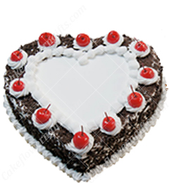 1kg eggless heart shape black forest cake
