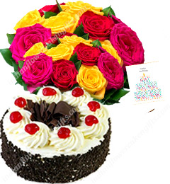 half Kg Black Forest Cake  with Roses Bunch starter combo