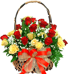 20 Red Yellow Roses Basket
