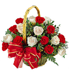 Gift of 20 White Red Roses Basket