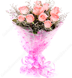 Fresh  Bunch Of 10 Pink Roses