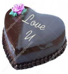 Heart Shape Chocolate Traffle Eggless Cake