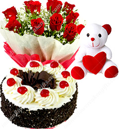 Black Forest Eggless Cake Half Kg Red Roses Bunch and a Teddy Bear