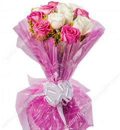 Pink White Roses Bbouquet