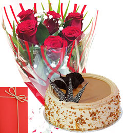 Half Kg Eggless Butterscotch Cake with Roses Bunch Greeting Card