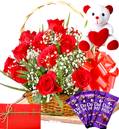 Red Roses Basket Chocolate Teddy