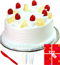 500gms Eggless Pineapple Cake n Greeting Card