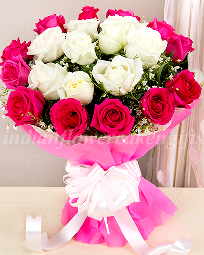 send buy order red n white roses flower bouquet online for home delivery best price for every. Black Bedroom Furniture Sets. Home Design Ideas