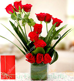 12 Red Rose Glass Vase n Greeting Card