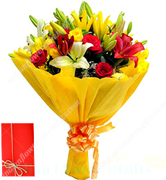 Send Order Flower Bouquet Of Red Roses Yellow Roses Yellow Lilies Online Delivery Indianflowercakengifts Com