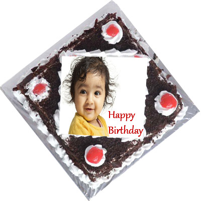 1Kg Black Forest Personalized Photo Cake