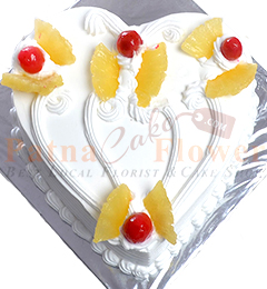 Eggless Heart Shape Pineapple Cake 1Kg