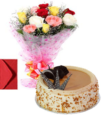 1-5 Kg Eggless Butterscotch cake and 10 mix roses