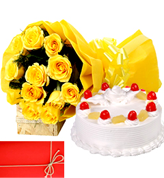 Yellow Roses n Eggless 1Kg Pineapple Cake Perfect Combo to Gift
