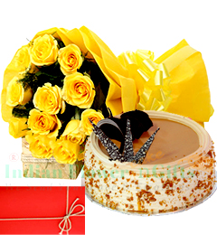 Yellow Roses n 1Kg  Eggless Butterscotch Cake