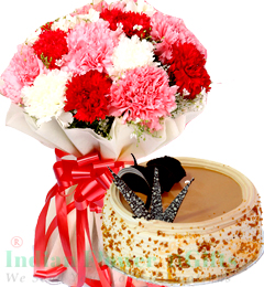 Carnations Flower n Half Kg Butterscotch Cake