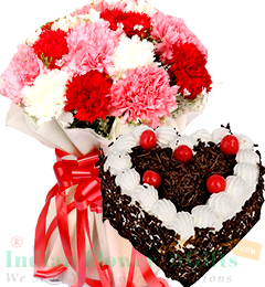 Mix Carnation Bouquet  Eggless 1kg Heart Shaped Black Forest Cake
