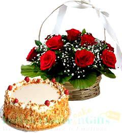 1Kg Butterscotch Cake N Red Roses Basket