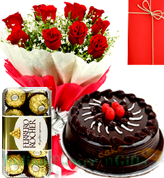 happy birthday combogift red roses bouquet chocolate cake  ferrero rochher chocolate box with card