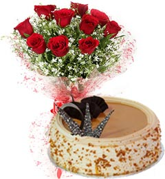 1Kg Butterscotch Cake N Red Roses Bouquet