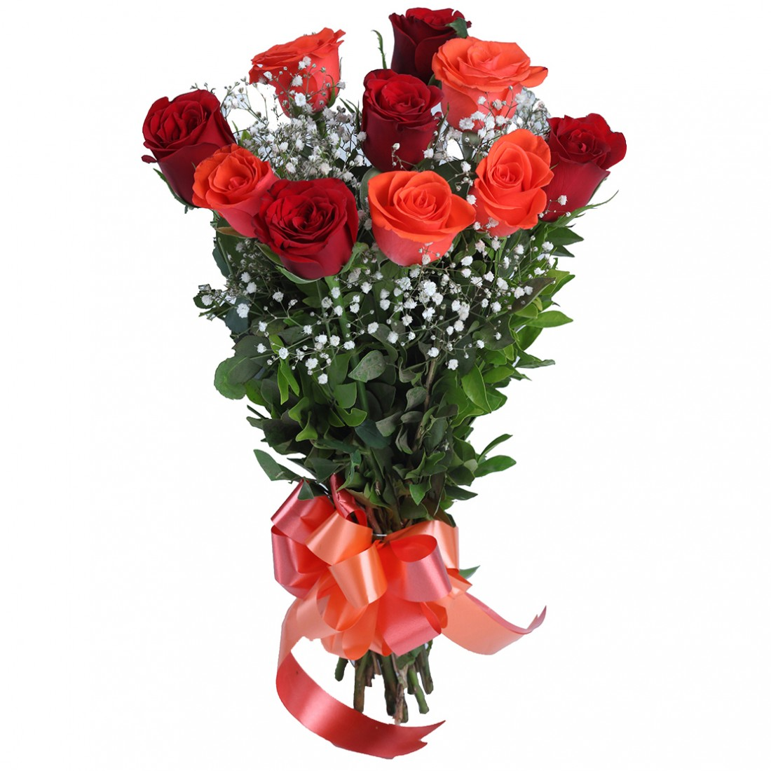 Hand Tied Bunch of 5 Red And 5 Orange Roses