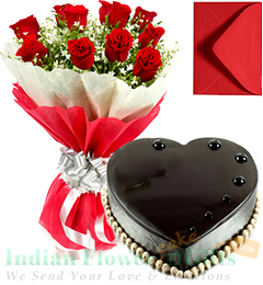 Roses Bunch 1 Kg Heart Shaped Chocolate Truffle Cake with Greeting Card