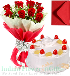 Roses Bunch 1 Kg Pineapple Cake with Greeting Card