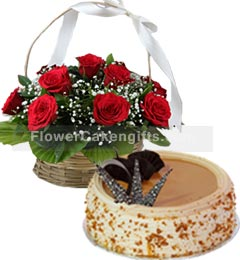 Butterscotch Cake Half Kg N Red Roses Basket