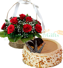 1Kg Eggless Butterscotch Cake N Red Roses Basket