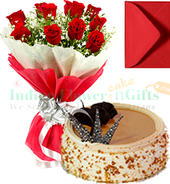 1 Kg Eggless Butterscotch Cake Red Roses Bunch Greeting Card