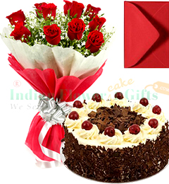 1 Kg Eggless Black Forest Cake Red Roses Bunch Greeting Card