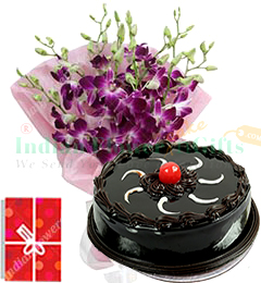 exotic orchids bouquet with eggless chocolate cake 500gms