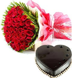 50 Red Roses Flower Bouquet 1Kg Heart Shaped Eggless Chocolate Truffle Cake