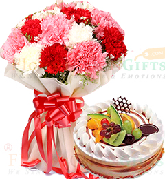 Eggless Half Kg Mixed Fruit Cake n Mix Carnations Flower Bouquet